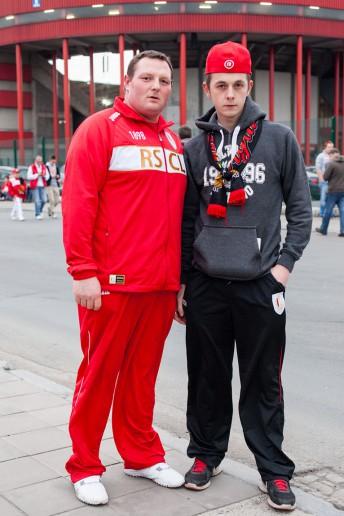 FußballFanFotos, Christophe und Freund, Stade de Sclessin in Lüttich, Belgien